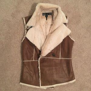 Soft faux fur camel color vest